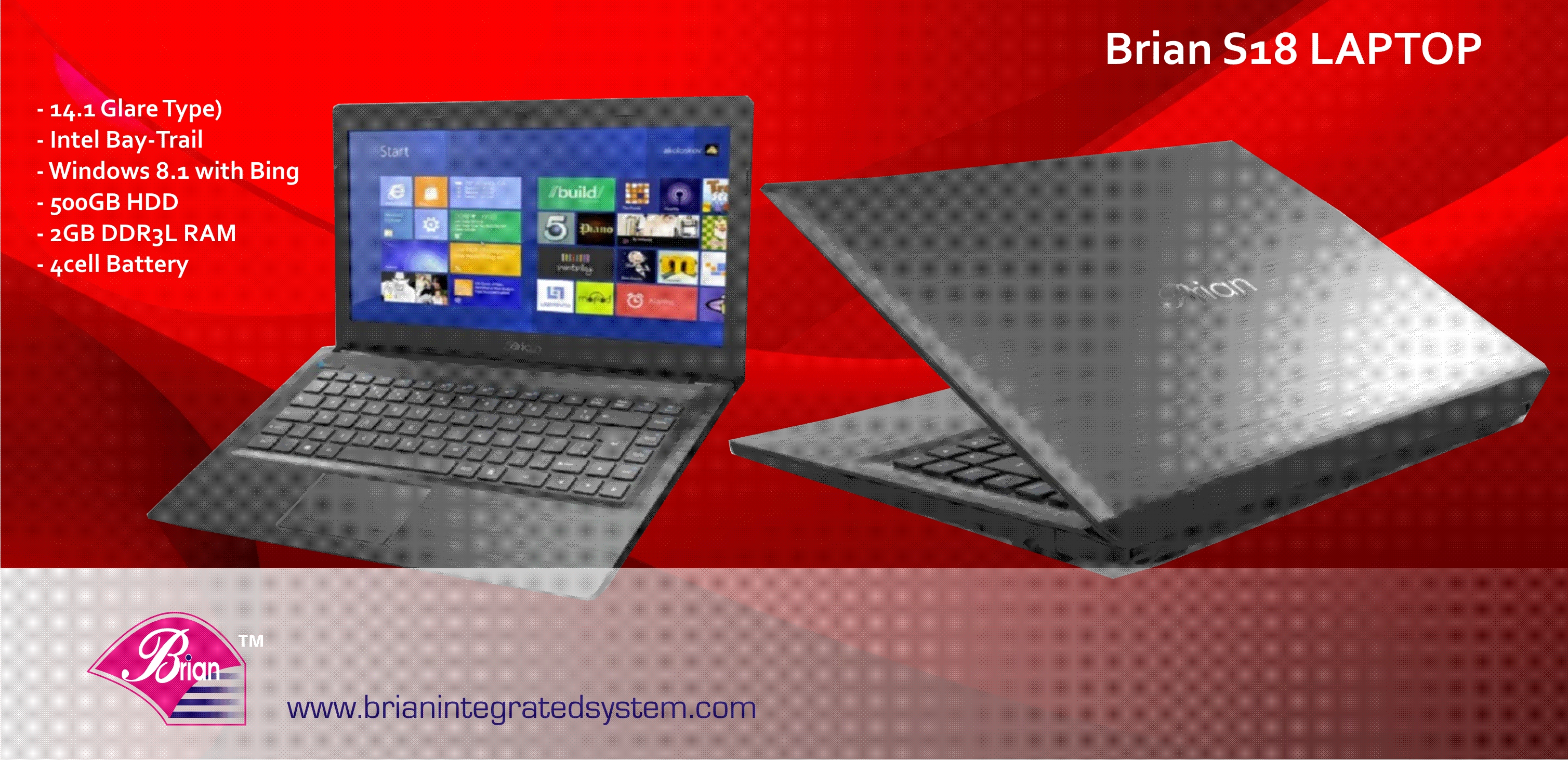 Brian S18 Laptop With Windows 8 1 Bing Microsoft Office 365 Personal 500gb Hdd In Built Memory Card Reader 2gb Ddr3l Usb 2 Hdmi